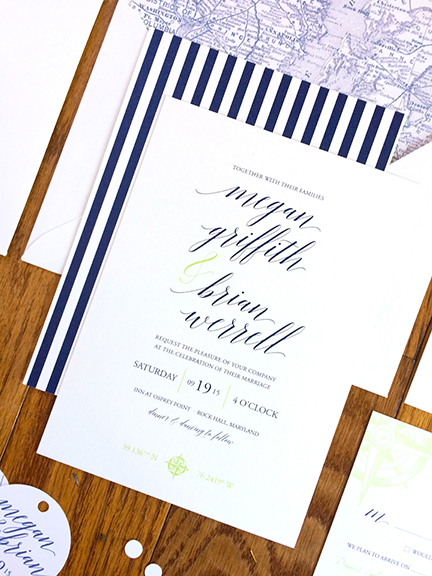 Combining Vintage & Modern on the Chesapeake Bay—Unique Wedding Invitations
