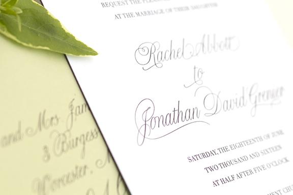 Classically Elegant Letterpress Wedding Invitations