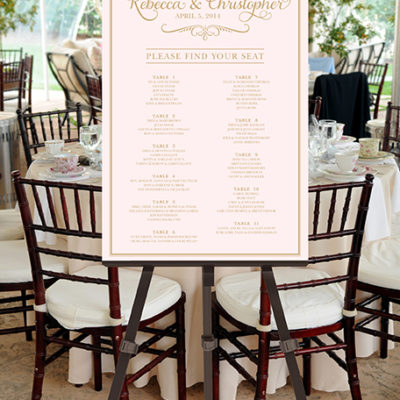 Wedding Seating Chart -- Printable Please Find Your Seat Calligraphy Blush Pink Gold