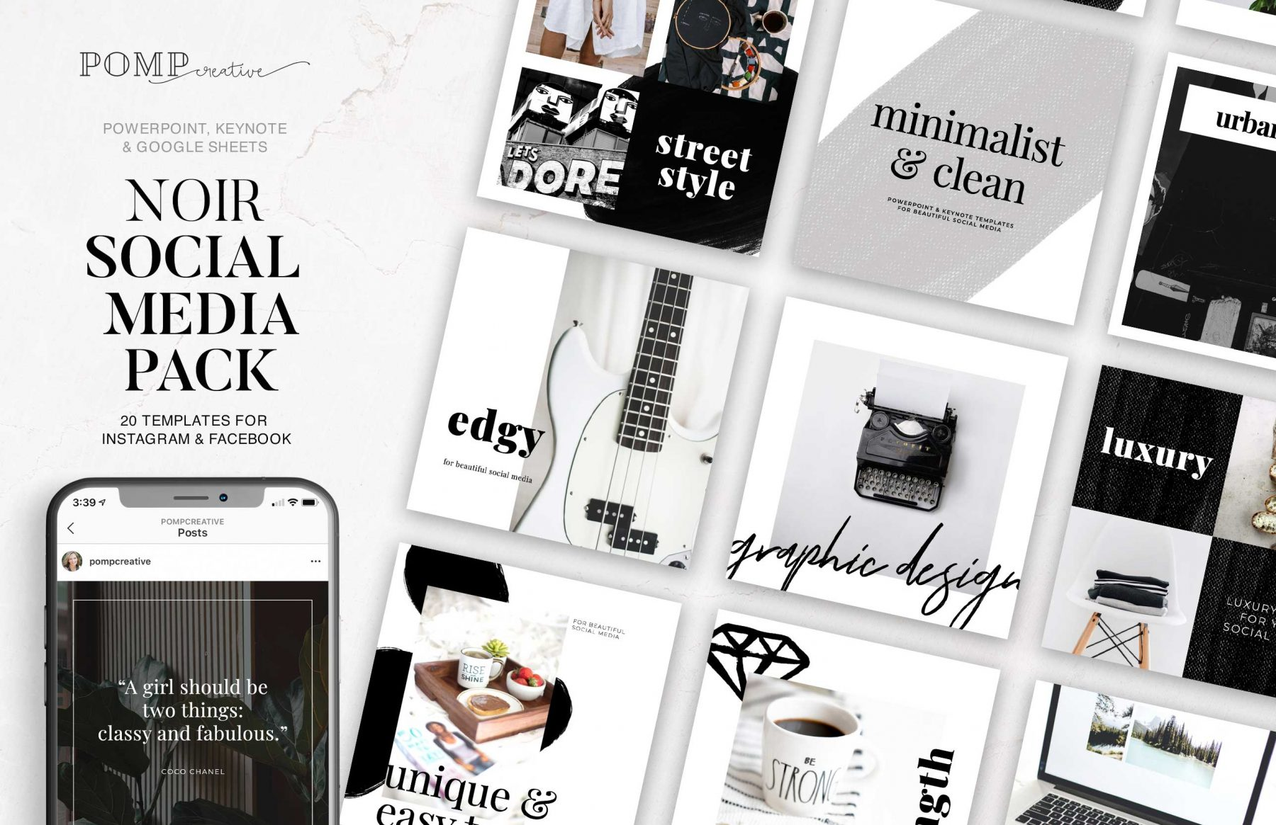 Social Media Templates; Instagram; Ladypreneur; Entrepreneur; Powerpoint Templates; Instagram Templates; Pinterest; Keynote Templates