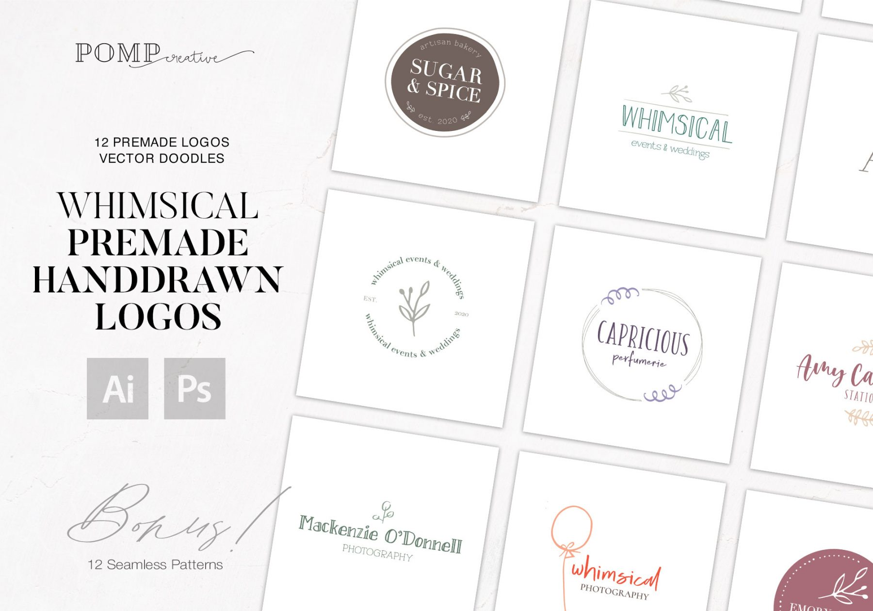 Feminine rustic handdrawn logo bundle ready to use in Photoshop and Illustrator, vector EPS, PNG, PSD, PDF