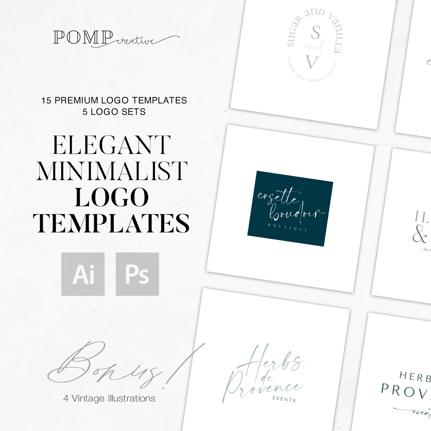 Minimalist modern feminine logo bundle ready to use in Photoshop and Illustrator, vector EPS, PNG, PSD, PDF